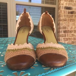 Aldo Shoes - ALDO Crochet D'orsay Leather Heels Vintage Flawed*